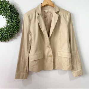 EILEEN FISHER . Linen Blend Button Front Jacket M
